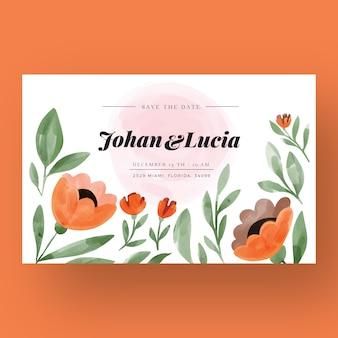 Hand-drawn colorful wedding invitation