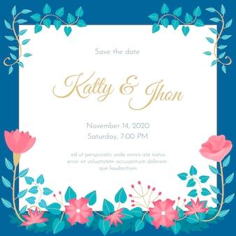 Hand drawn colorful wedding invitation