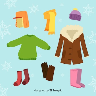 Hand drawn colorful winter clothes