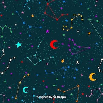 Hand drawn colorful zodiac pattern