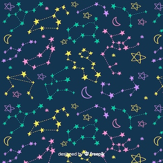 Hand drawn colorful zodiac pattern