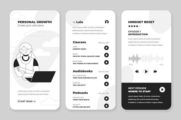 Hand-drawn colorless apps collection for smartphone
