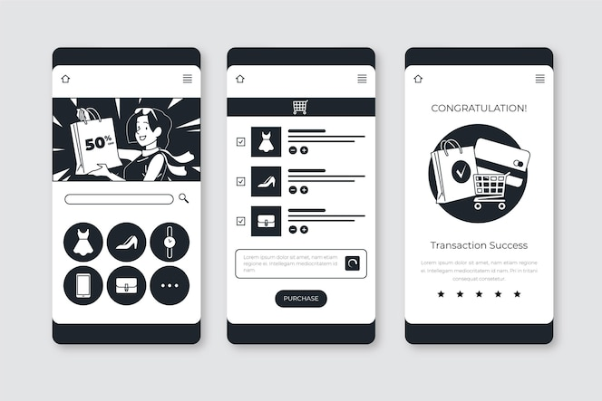Hand drawn colorless apps in flat design