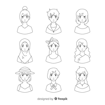 Hand drawn colorless avatar collection