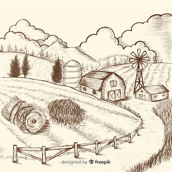 Hand drawn colorless farm landscape