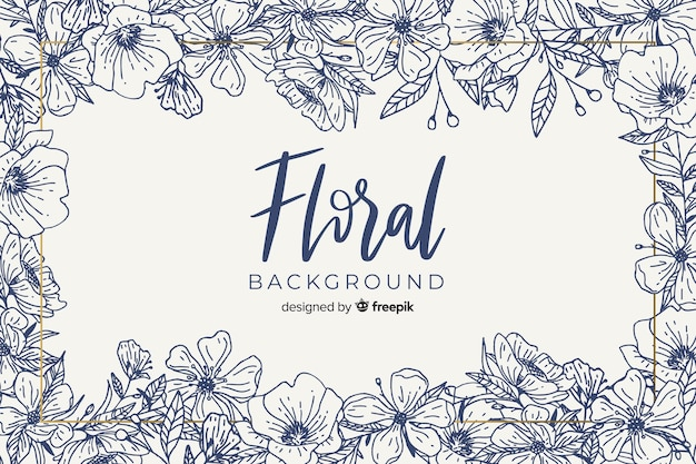 Hand drawn colorless floral background