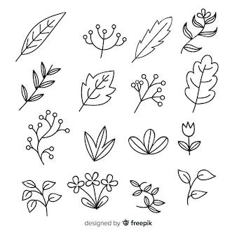 Hand drawn colorless floral decoration element set