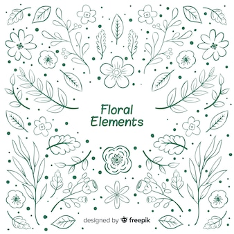 Hand drawn colorless floral decorative elements