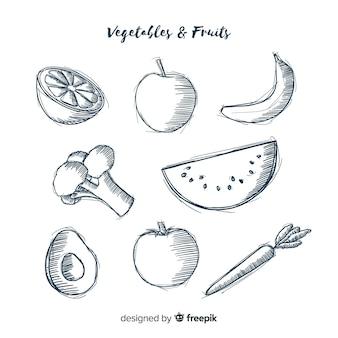 Sfondo di frutta e verdura incolore disegnato a mano