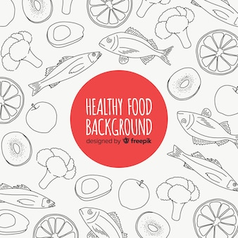 Hand drawn colorless fruit and vegetable background