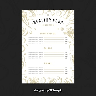 Hand drawn colorless healthy menu template