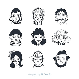 Hand drawn colorless people avatar collection