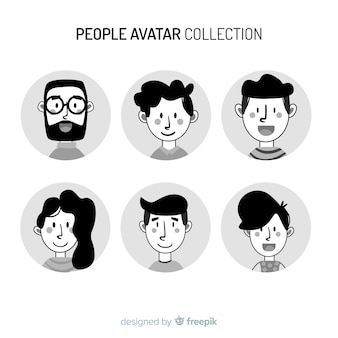 Hand drawn colorless people avatar pack