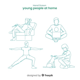 Hand drawn colorless people at home collection
