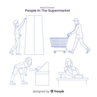 Hand drawn colorless people in the supermarket pack