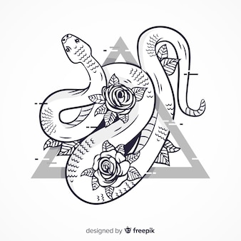 Hand drawn colorless snake illustration