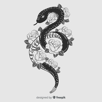 Hand drawn colorless snake with flowers background