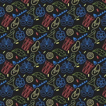 Hand drawn colourful carnival pattern on dark background