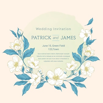 Hand drawn colourful floral wedding invitation