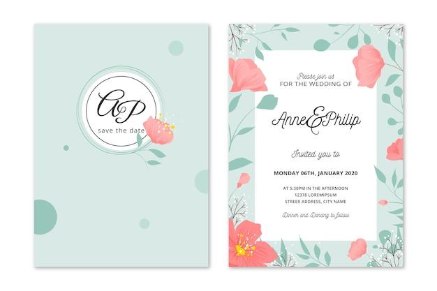 Hand drawn colourful wedding invitation