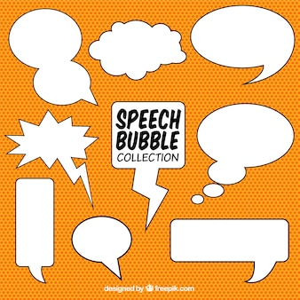 Hand drawn comic speech balloons set