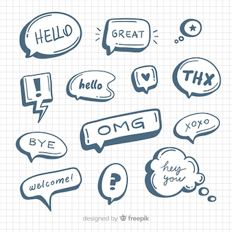 Hand drawn comic speech bubbles collection