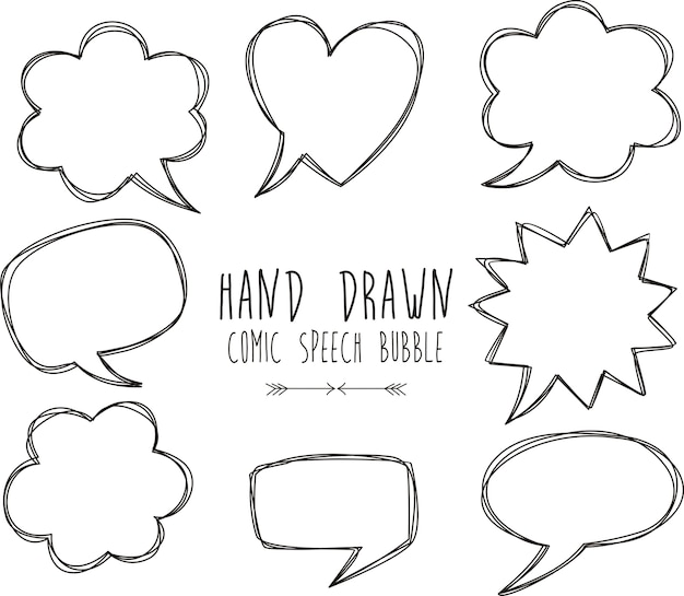 Hand drawn of comic speech bubbles on white background