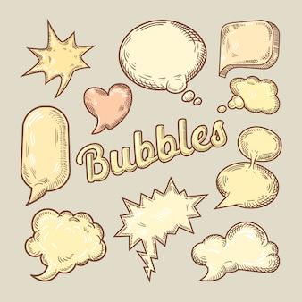 Рука нарисованные комические речи пузыри