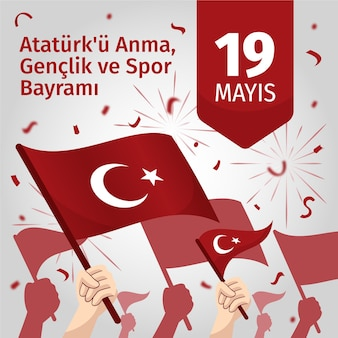 Hand drawn commemoration of ataturk, youth and sports day illustration