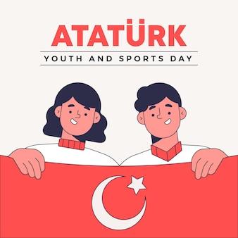 Commemorazione disegnata a mano di ataturk, illustrazione della giornata della gioventù e dello sport