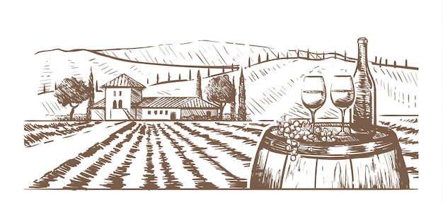 Hand-drawn composition, glasses, a bottle of wine and grapes on a barrel against a rural landscape