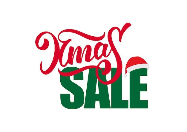 흰색 배경에 고립 된 산타 클로스 모자와 함께 크리스마스 판매의 손으로 그린 구성 글자 프리미엄 벡터