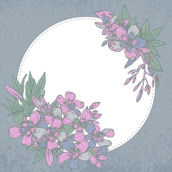 Hand drawn composition of rhododendron flowers on white background