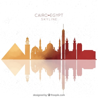 Hand drawn composition with cairo's skyline