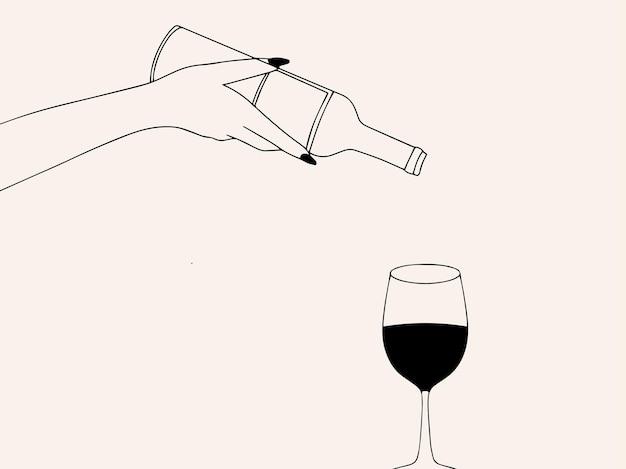 赤ワインとワインボトルのガラスと手描きの構図ファッションイラスト線画スタイル