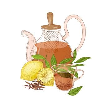 여과기, 홍차 컵, 신선한 레몬 및 잎 흰색 절연 유리 투명 주전자와 손으로 그린 구성