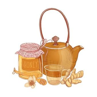주전자, 차 한잔, 꿀, 국자, 생강 흰색 절연 유리 항아리와 손으로 그린 구성