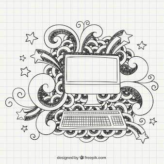 Mano del computer disegnato in un quaderno