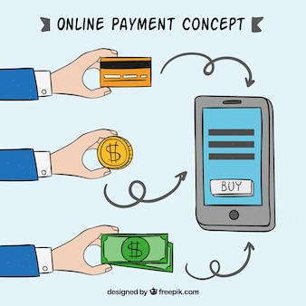 Hand-drawn concept about e-payment