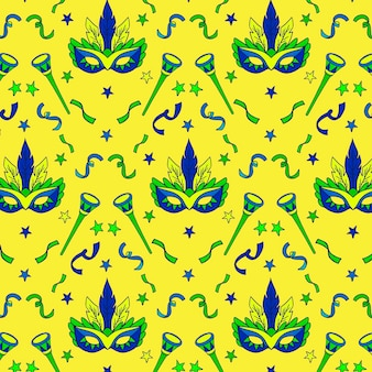 Hand-drawn concept for brazilian carnival pattern