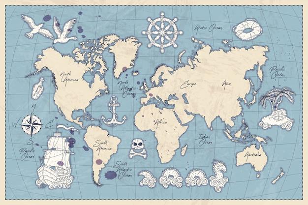 ヴィンテージの世界地図の手描きの概念