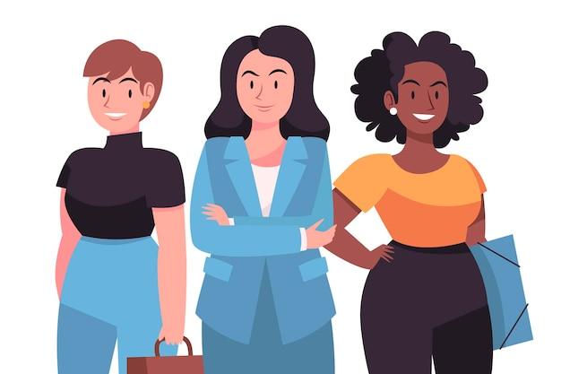 Hand drawn confident female entrepreneurs collection