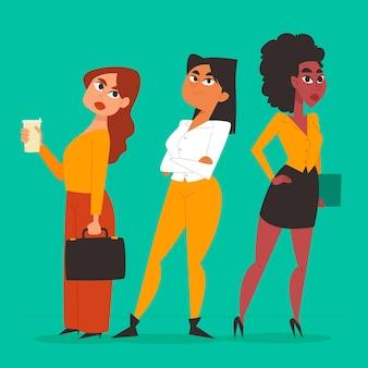 손으로 그린 자신감 여성 기업가 그림