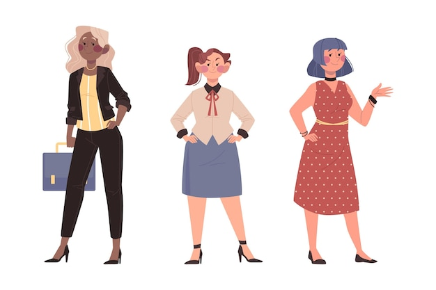手描きの自信を持って女性起業家セット