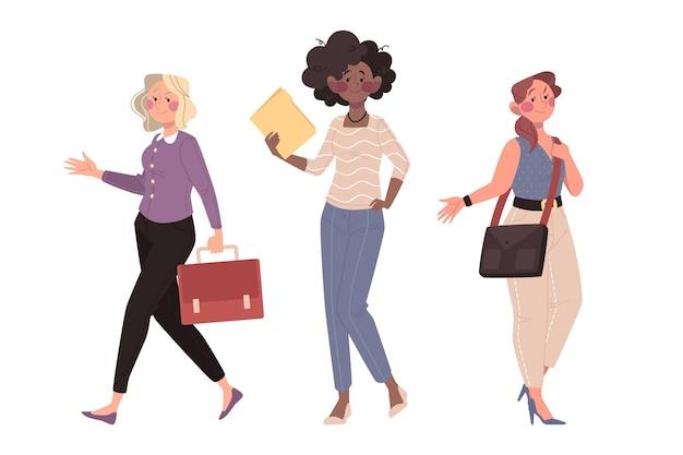 Hand drawn confident female entrepreneurs set