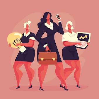 Imprenditori femminili fiduciosi disegnati a mano