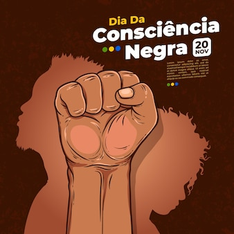 Hand drawn consiencia negra day