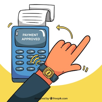 Hand drawn contactless payment with smartwatch