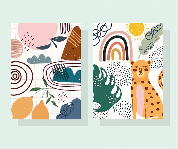 Hand drawn contemporary, leopard trendy print collage color banners
