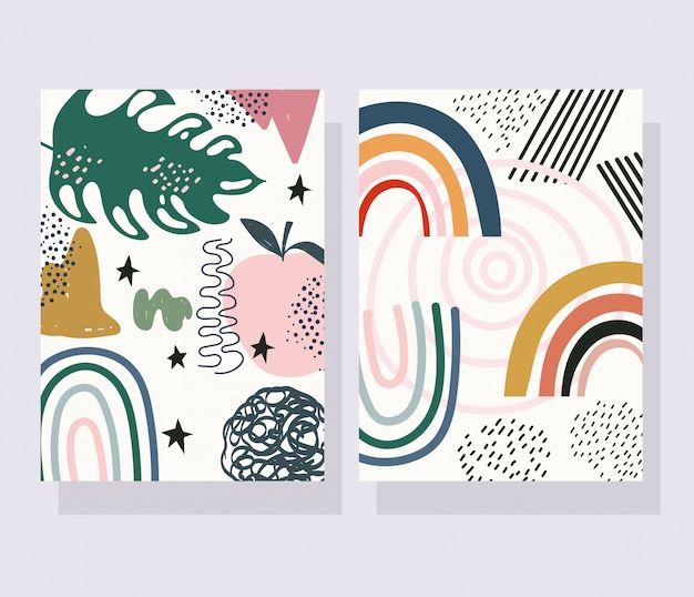 Hand drawn contemporary, trendy print collage color leaves decorative banners